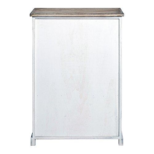 Rebecca Mobili Credenza Mobile Cucina 4 Cassetti 2 Ante Legno Paulownia Bianco Beige Grigio Shabby Cucina Sala - 81 x 58 x 29 cm (H x L x P) - Art. RE4479