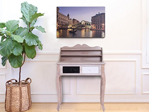 Rebecca Mobili Tavolo consolle 2 cassetti, Legno Paulownia, Marrone Nero Bianco, Ingresso Camera - Misure 108 x 80 x 40 cm (HxLxP) - Art. RE4110