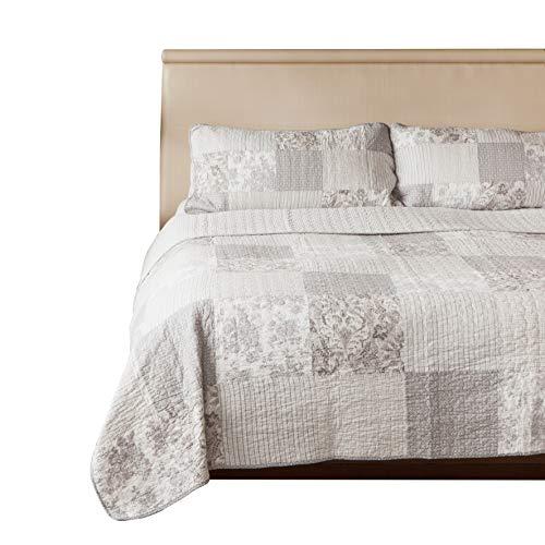 """SLPR copriletto trapuntato patchwork vintage in stile country""""Silver Linings"""" con 1 federa (173cm x 224cm)   Copriletto lavabile in lavatrice leggero e reversibile"""