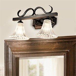 TOYM UK American Country minimalista specchio del bagno luce del bagno specchio mobile vanity lampada europea Specchio Retro (colore : 2 Light)