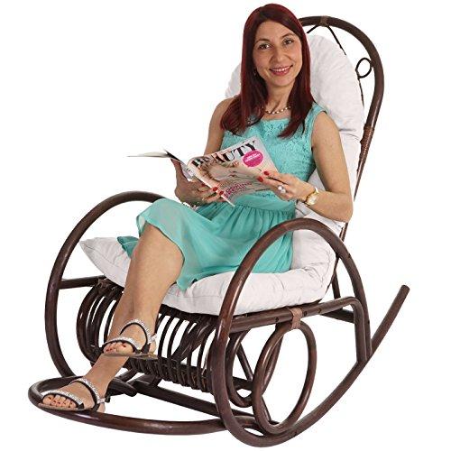 Sedia a dondolo Derby 139x58x110cm legno seduta poliestere ...