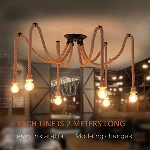 Base lampadine lampadario pendente Lampada a sospensione 6 luceLampadario in bamb e corda di canapa 6 lights