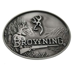 Xwest Fibbia per Cinture Browning Buckmark Belt Buckle Silver Deer Country Hunting Fishing