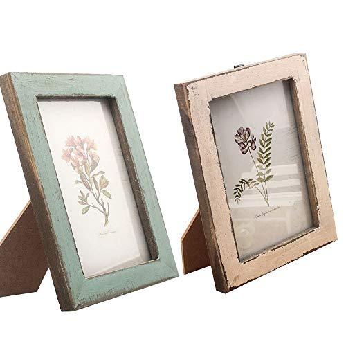 2 PCS Portafoto in Legno Decorati in Decappotto Stile Vintage Cornice Portafoto Vintage in Legno per Decorazione della Casa da Tavolo Legno Verde Chiaro 126176CM