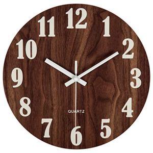 30 cm Orologio da Parete Rotondo in Legno Decorazione Shabby ChicOrologio Silenzioso a Quarzo per Salotto Cucina Camera da Letto Bagno