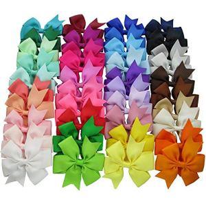 40 pc  pacchetto archi dei capelli del nastro Nastro per capelli clip colore puro tornante Accessori dei capelli per neonate bambine ragazzi
