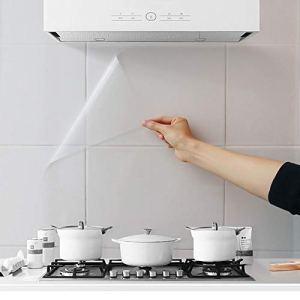 4 adesivi da parete a prova di olio da cucina paraspruzzi trasparenti impermeabili resistenti al calore autoadesivi per cucina sala da pranzo tavolo in legno