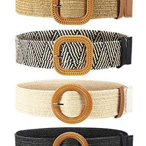 4 Pezzi Cintura Elastica in Tessuto Elasticizzato in Paglia Cintura da Donna Attillata Cinturino iin Stile Fibbia in Legno