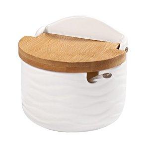 77L Zuccheriera zuccheriera in ceramica con cucchiaio di zucchero e coperchio in bamb per casa e cucina  Design moderno bianco 254 ML 858 OZ
