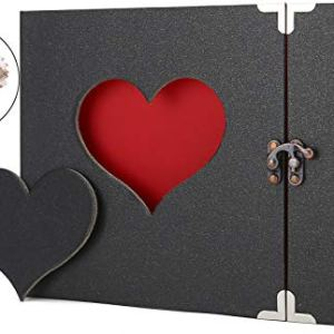 AIOR Album Fotografico A4 DIY Album Foto Scrapbook Album Portafoto Diario Creativo con Incisione a Forma di Cuore Wedding Anniversary Birthday Mothers Day Valentines Day Idea Regalo Nero