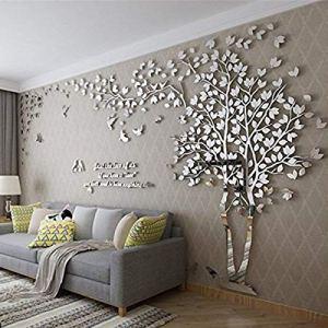 Albero Adesivo da Parete Alberi e Uccelli 3D Adesivi Murali Arts Wall Sticker Decorativi per TV Par M250  130cm Argento Destra