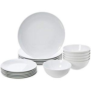 AmazonBasics  Servizio di piatti per 6 persone 18 pezzi Coppa di porcellana bianca