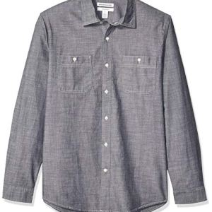 Amazon Essentials  Camicia da uomo a maniche lunghe in chambray slim fit Evelina US XS EU XS