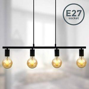 BKLicht Lampadario vintage nero adatto per 4 lampadine E27 non incluse altezza 120cm larghezza 75cm Lampada a sospensione per salotto o sala da pranzo Lampada da soffitto industriale IP20