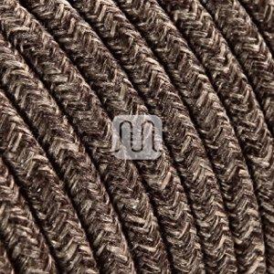 Cavo elettrico tondo rotondo rivestito in tessuto colorato Filato Grezzo Canvas Lino Marrone 10 metri 2x075 per lampadari lampade abat jour design Made in Italy