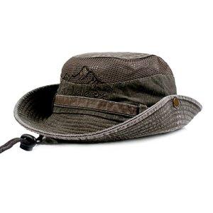 Charmylo Cappello da sole da uomo e donna in cotone con protezione UV per escursionismo pesca trekking safari dal design pieghevole con sottogola verde oliva 58
