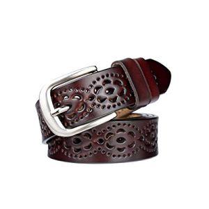 Cintura donna vintage in vera pelle di vacchetta Cintura moda donna in design a motivo vuoto con fibbia in lega per jeans Caff scuro