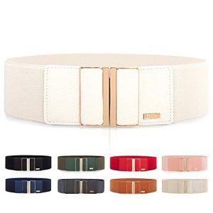 Cintura larga elastica da donna per vestiti lucida con fibbia in metallo diversi colori disponibili bianco Taglia unica