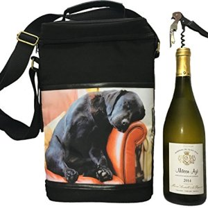 COUNTRY MATTERS Sleeping Lab Dog Design Isolato Vino Borsa Termica da Picnic in Poliestere 10x 23x 34cm