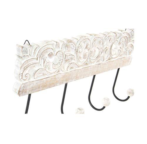 Dcasa  Appendiabiti a parete con 4 ganci in legno intagliato 40 x 18 cm