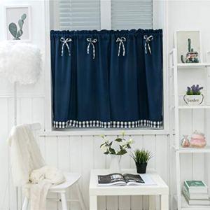 Dreamskull  Set di 2 tende corte stile country 90 cm di altezza stile vintage Blu scuro 74 x 90 cm2