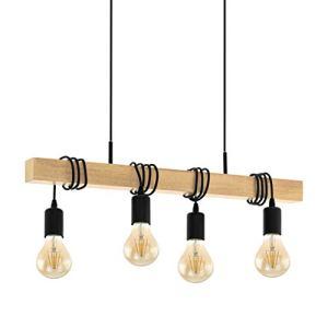 Eglo  lampada a sospensione Townshend 95499 in Legno attacchi E27 per 6 punti luce acciaio e legno Nero 110cm x 70cm x 105cm