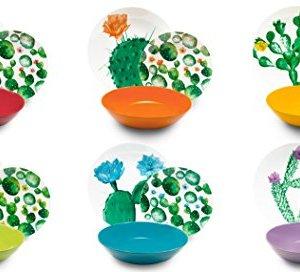 Excelsa Color Cactus Servizio Piatti 18 Pezzi Porcellana e Ceramica Multicolore unit