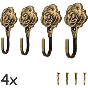fuxxer4XAppendiabiti con ganci appendiabiti antico asciugamano  in ghisa e ferro ottone bronzo Design  Vintage Paese Casa Retro Bad 92mm  RoseSet da pezzi