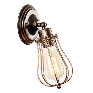 Industriale Applique da parete Vintage illuminazione regolabile Sconce Rustic Wire Metal Cage Light Shade Edison Style senza lampadina colore Bronzo