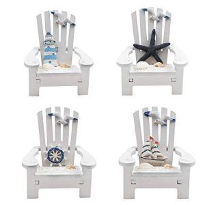 Jangostor 4 Pezzi Mini Sedia in Legno Ornamento Decorazioni da Spiaggia Decorazione Nautica per casa delle Bambole Scrivania da Ufficio Bagno Decorazione Camera da Letto 10 x 95 x 95 CM