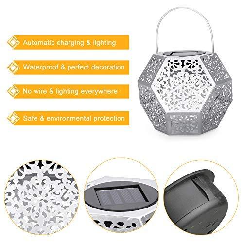 Lanterna Solare da Giardino GolWof Lanterna Solare LED Lanterna Solare Luci Solari Esterno Decorative Luce Solare da Esterno per Patio Fuori Lampada a Forma di Diamante  Argento