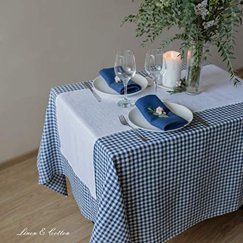 Linen  Cotton Tovaglia da Tavola in Tessuto a Quadri Bianchi e Blu Estella  100 Lino Blu Bianco 139 x 250 cm Tovaglia di Stoffa Rettangolare Rustica Country per Tavolo Cucina caff Primavera