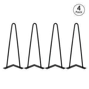 Locisne Set di 4 gambe tavolo a forcina superior Weld verniciato a polvere nero opaco Fusioni in acciaio 9 millimetri 2 canne da 16 pollici Altezza moderna del metallo di stile tornante Gambe Sala