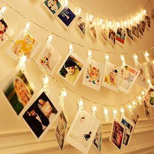 LUXMARS 20 LED foto clip luci stringa luci stringa di Natale coperta per appendere foto immagini carte e memo alimentato a batteria regalo ideale 13FT