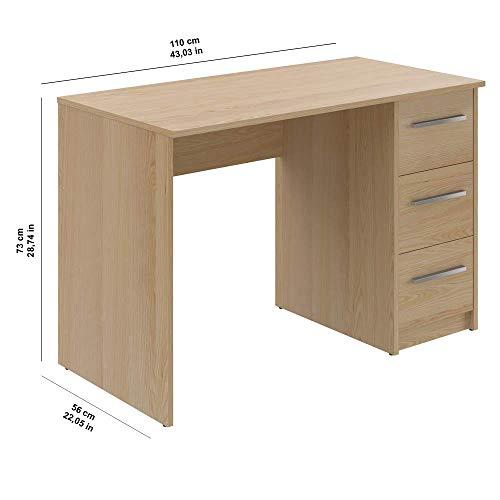 Movian scrivania con 3 cassetti in stile moderno modello Idro 56 x 110 x 735 cm  faggio