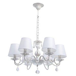 MWLight 448012106 Lampadario da Soffitto Pendente in Metallo Colore Bianco Oro Paralume Tessile Cristallo Trasparente