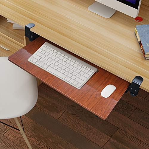 Novhome Supporto Porta Tastiera Estraibile Legno Ergonomico per Scrivania con Tappetini per Il Mouse e Tastiere Supporto Scorrevole per PC Laptop 70 x 60cm