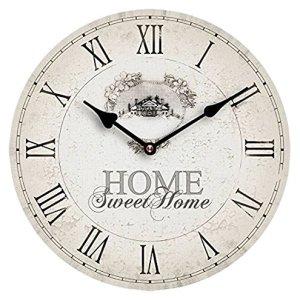 Premier Housewares 2200542 Orologio da Parete Home Sweet Home MDF beige pvc rotonda