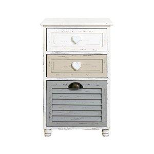 Rebecca Mobili Comodino per camera bagno mobile multiuso con 3 cassetti legno paulownia bianco grigio beige shabby  Misure 65 x 40 x 29 cm HxLxP  Art RE4416