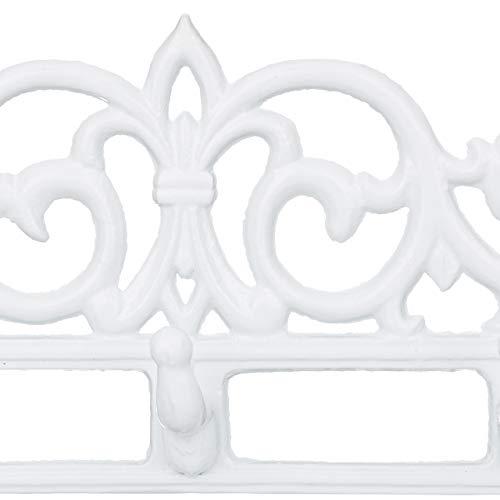 Relaxdays 1002063249 Appendiabiti da parete portachiavi in Ghisa 5 Ganci Stile Antico Rustico HxLxP 17x35x34 cm Bianco