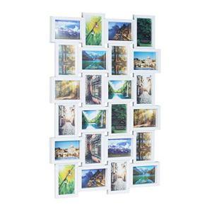 Relaxdays 1002195449 Cornice per 24 Foto Portafoto Multiplo da Parete per Collage Personalizzati HxLxP 59 x 86 x 25 cm Bianco plastica