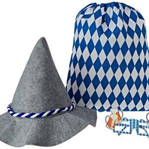 Relaxdays Accessori Set 3 Pz Articoli per Oktoberfest Cappello da Bavarese in Feltro Sacca Sportiva  Divertenti Occhiali da Festa Adulti Unisex BluBianco 10024301