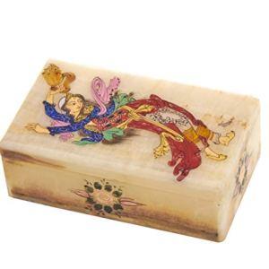 Scatola di gioielli in marmo LPUK Serie 1 Dancing Beauty Persiano Squisito Marmo Dipinto 4 x 7 x 12 cm Peso 280 gr