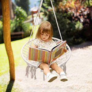 Sedia pensile per bambini piccola amaca Altalena per giardino altalena altalena per giardino Altalena beige per bambini allinterno Patio esterno capacit fino a 100 kg
