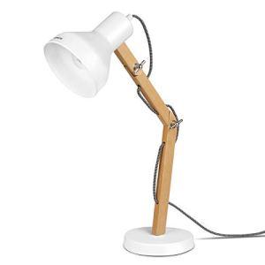 Tomons Lampada da Tavolo LED Lampada da Scrivania Scandinavo  Design in Legno Braccio Pieghevole  Lampada da Comodino Bianca da Lettura per Studio e per Ufficio Luce da Comodino  DL1004