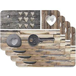 Venilia Key of Love 59081 Tovaglietta con motivo stampato Country Key Of Love Braun Confezione da 4 pezzi