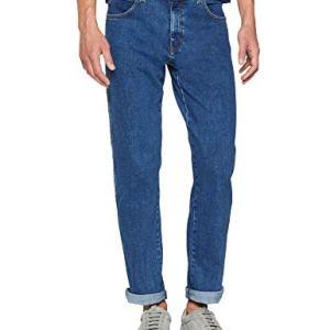 Wrangler Texas Contrast Jeans con la Gamba Dritta Uomo Blu Mid Rocks 32e 36W  34L