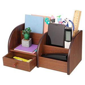 Xinzistar Organizer Scrivania Organizzatore Cancelleria Portaoggetti Scrivania Multifunzionale Ufficio Accessori Desk Organizer Portapenne da Scrivania in Legno