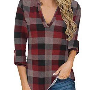 YOINS Camicia Donna Elegante Camicetta Donna Manica Lunga Bluse Camicie a Quadri Blusa Scollo V Casuale Rosso Plaid M