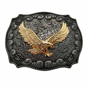 YONE Fibbia per Cinture Golden Eagle Western Belt Buckle